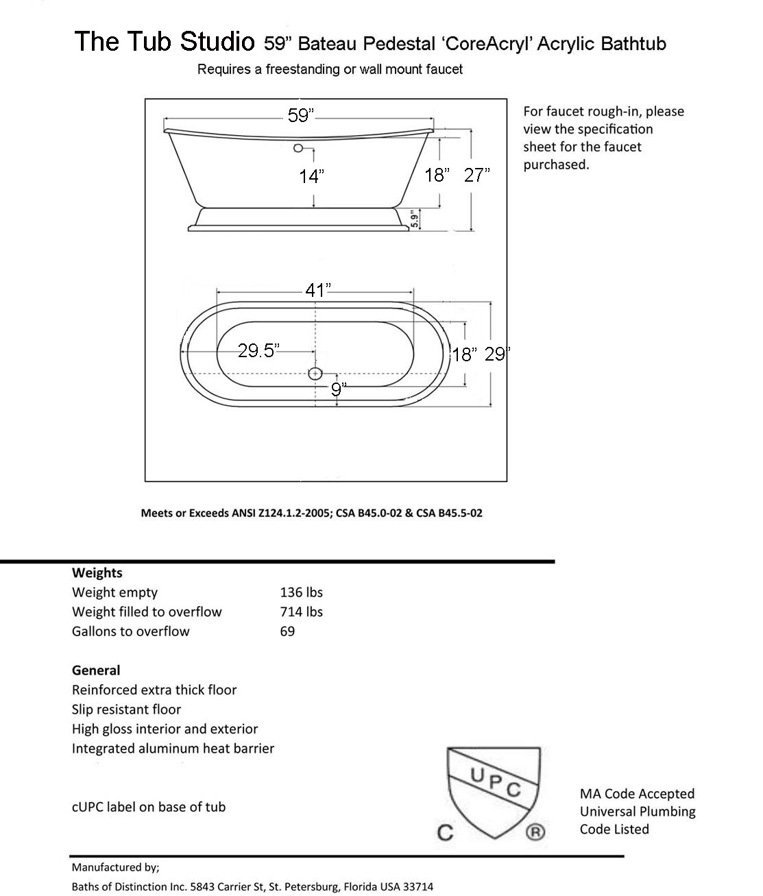 39 isabetta 39 coreacryl acrylic white pedestal tub for Standard size of freestanding bathtub